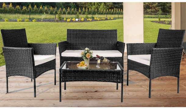4 Seater Rattan Effect Garden Furniture