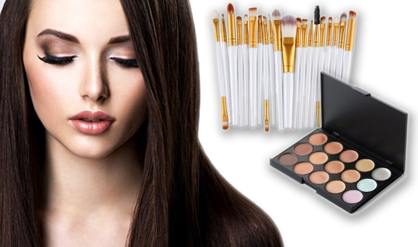 15 shade contouring palette 20 pc make up brush set from save up to 82. Black Bedroom Furniture Sets. Home Design Ideas