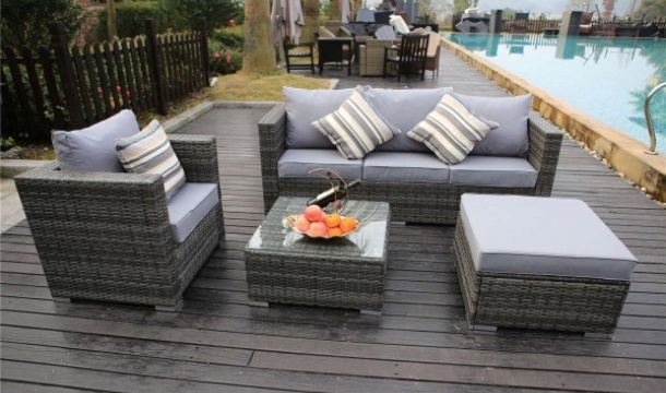 Yakoe 5 Seater Rattan Garden Furniture Set With Raincover Save Up