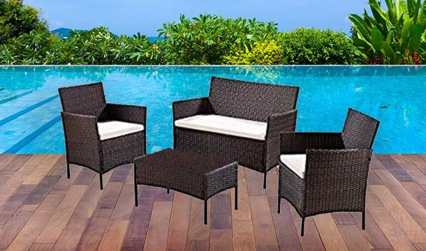4 Seater Rattan Effect Garden Furniture Set Save Up To 70