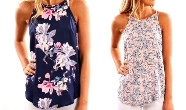 Colour Halter Flower Dresses