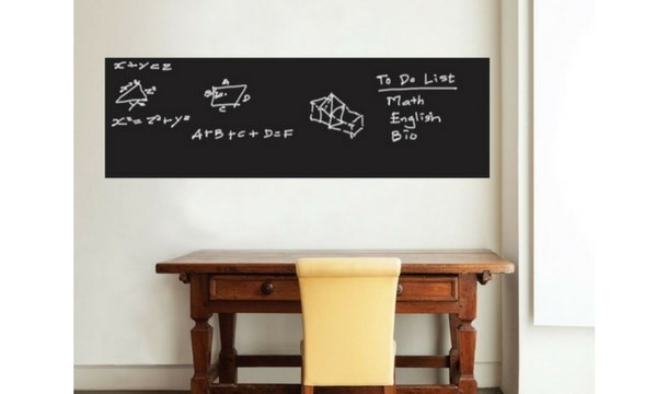 blackboard or whiteboard wall decal with colour chalks/marker pens